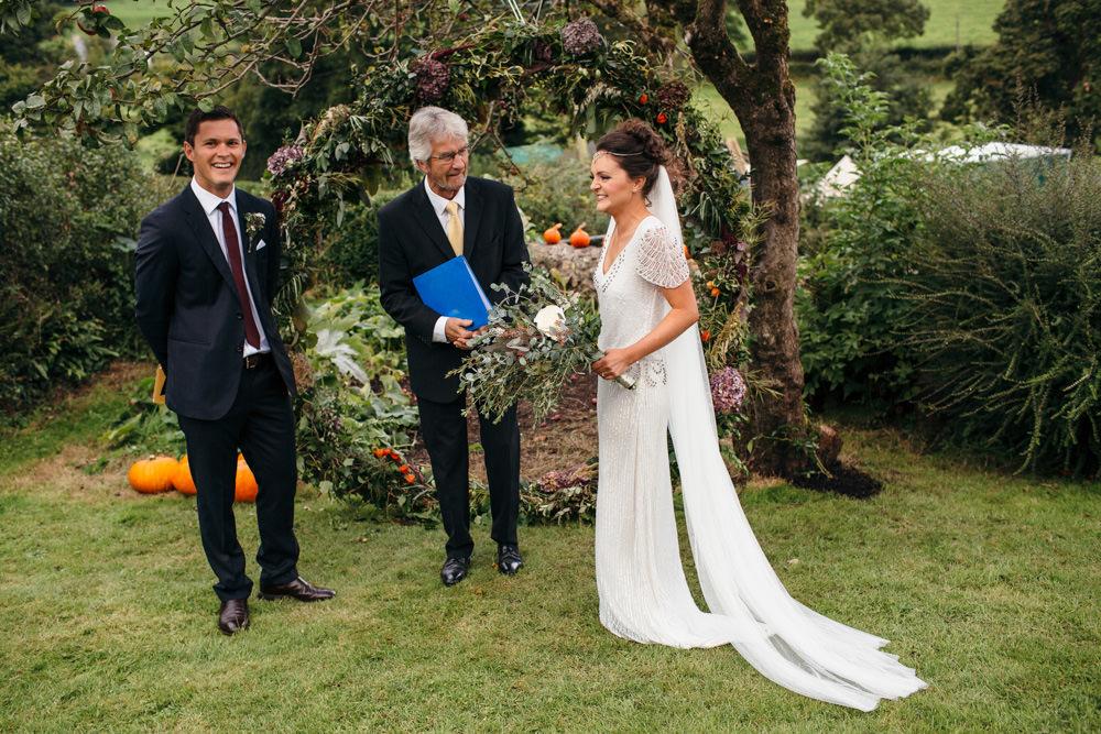 Eliza Jane Howell Beaded Sequin Dress Gown Sleeves Bride Bridal Veil Devon Garden Wedding Tipi Freckle Photography