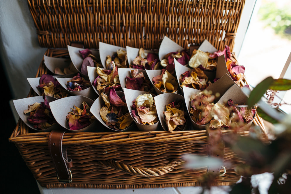 Confetti Cone Basket Devon Garden Wedding Tipi Freckle Photography
