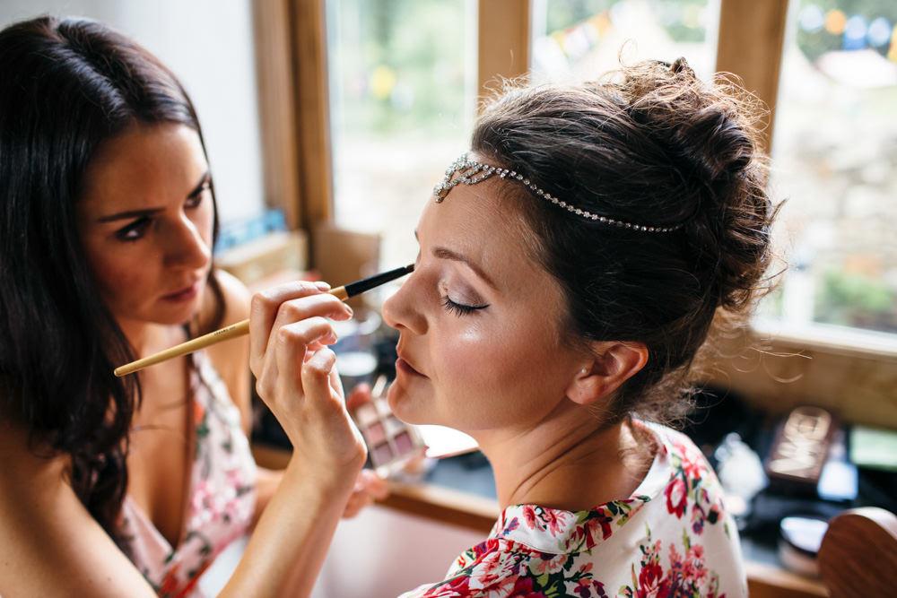 Make Up Bride Bridal Hair Devon Garden Wedding Tipi Freckle Photography