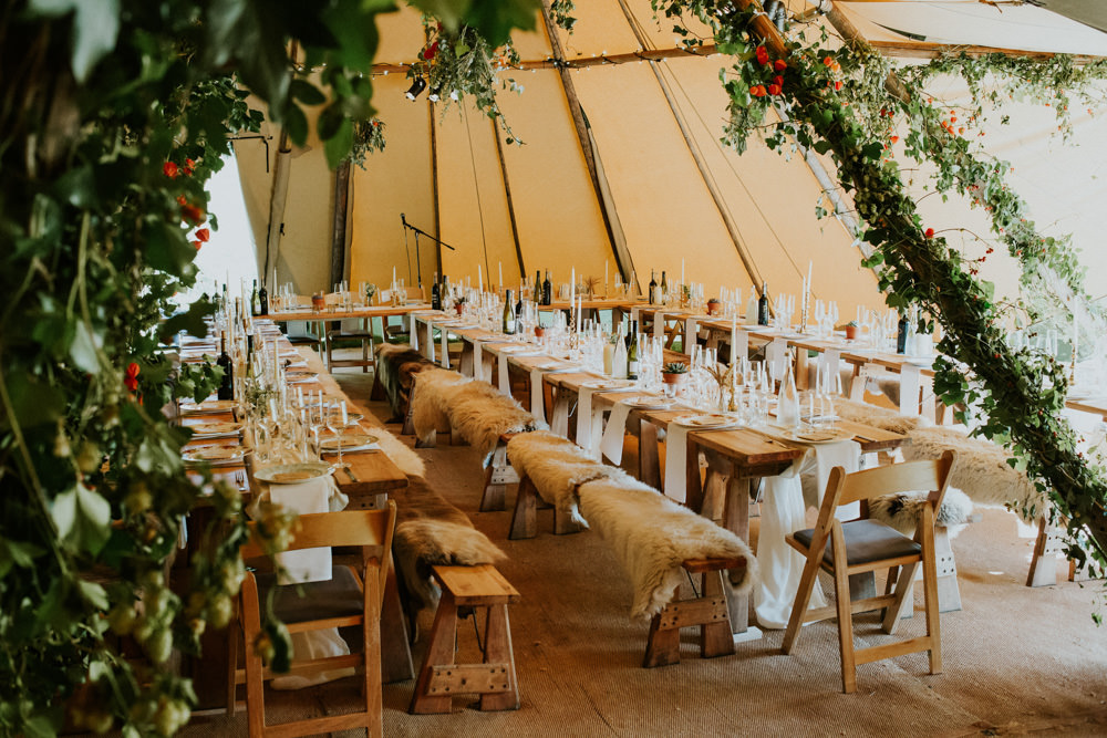 Table Decor Wooden Candles Succlents Greenery Devon Garden Wedding Tipi Freckle Photography