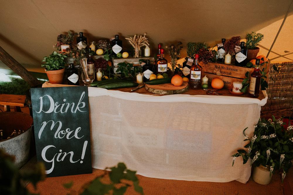 Gin Bar Drinks Station Devon Garden Wedding Tipi Freckle Photography