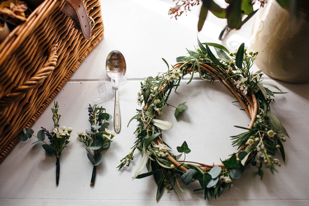 Greenery Flower Crown Buttonholes Devon Garden Wedding Tipi Freckle Photography