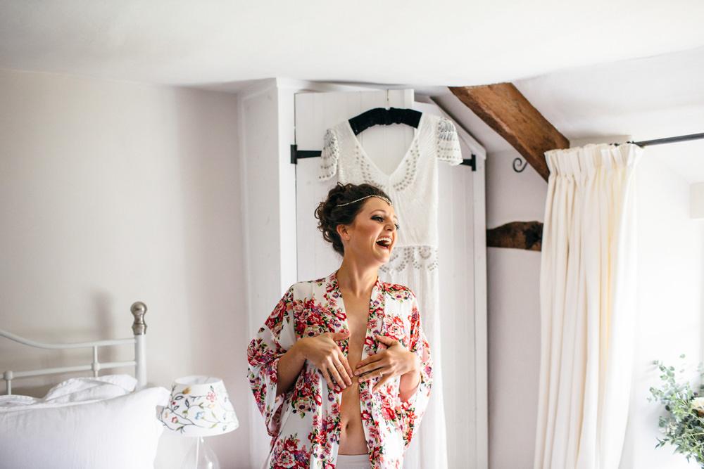 Floral Dressing Gown Robe Bride Bridal Devon Garden Wedding Tipi Freckle Photography