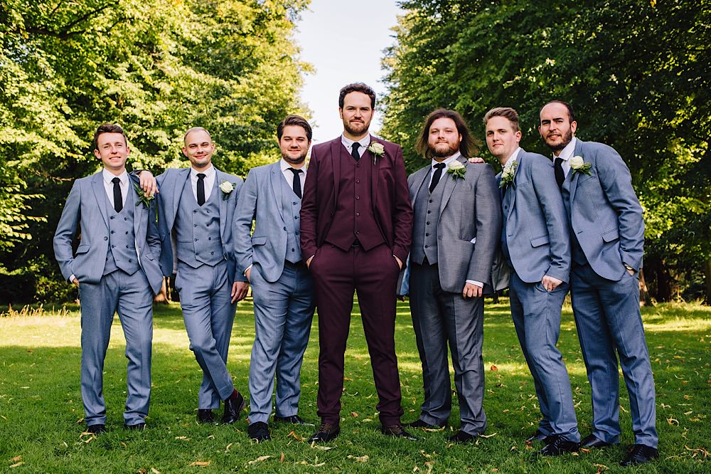 Groom Groomsmen Grey Suits Black Ties Shoes Burgundy Great Fosters Wedding Roo Stain Photography