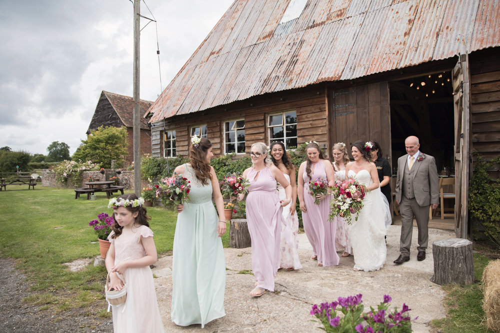 Pastel Pink Green Bridesmaid Dresses House Meadow Wedding Kerry Ann Duffy Photography