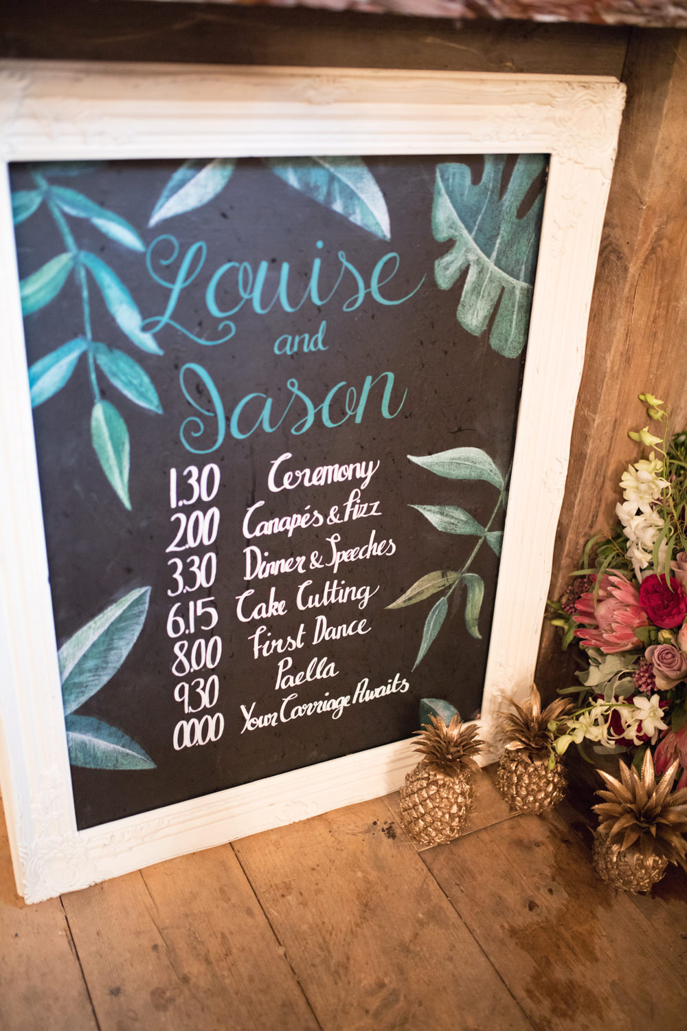 Topical Palm Leaves Chart Plan Day Sign House Meadow Wedding Kerry Ann Duffy Photography