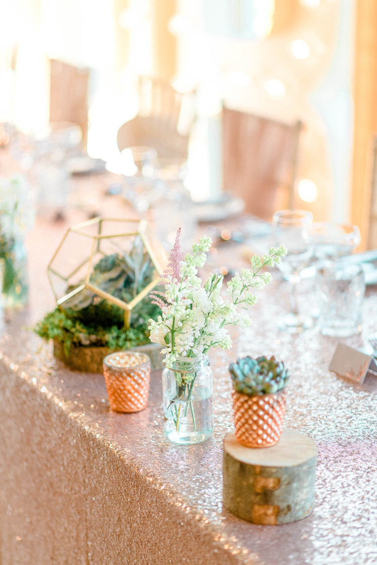 Sequin Table Cloths Letter Lights Decor Flowers Tablescape Pink Jar Flowers Newton Hall Wedding Sarah-Jane Ethan Photography