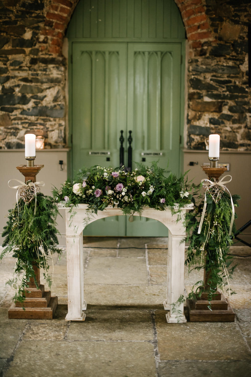 Decor Fireplace Greenery Foliage Candlesticks Purple Rose Orange Tree House Wedding Winter You Them Us Photography