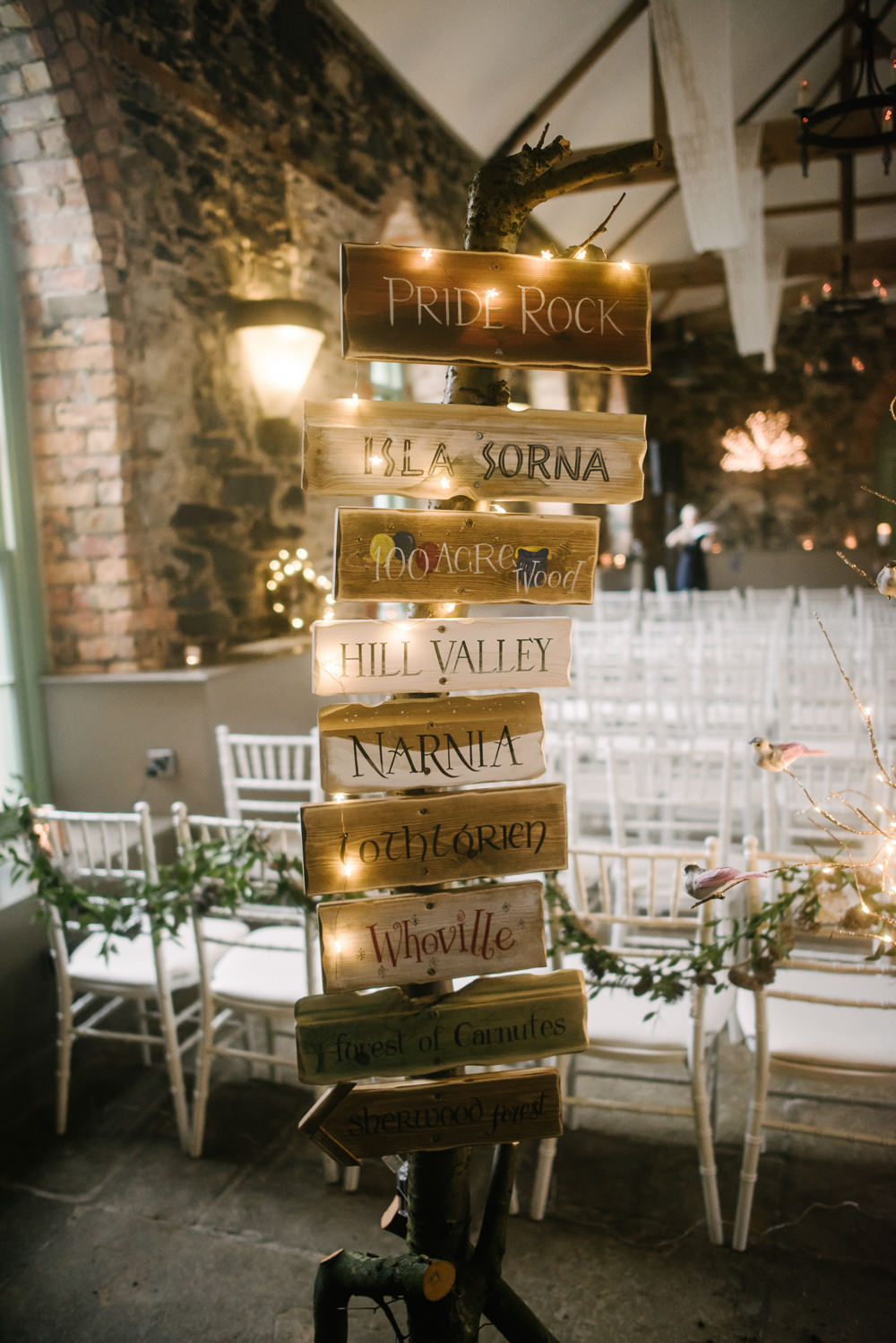 Sign Post Signage Table Names Fairy Lights Orange Tree House Wedding Winter You Them Us Photography