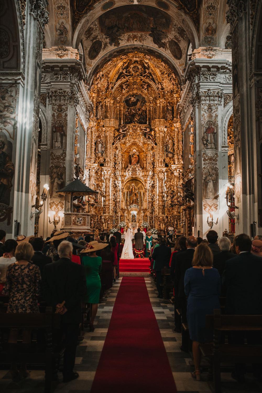 Outdoor Seville Destination Baroque Church Aisle Ceremony Bride Groom Vows Altar | Colorful and Heartfelt Wedding in Spain Boda&Films