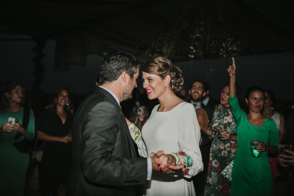 Outdoor Seville Destination Villa Hacienda Bride Groom Dancing | Colorful and Heartfelt Wedding in Spain Boda&Films