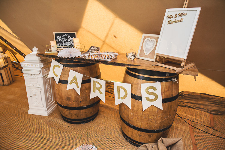 Card Table Wooden Barrel Tipi Garden Wedding Wedding Foxley Photography