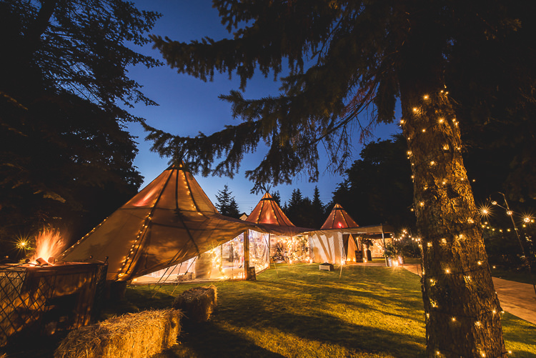 Fairy Lights Tipi Garden Wedding Wedding Foxley Photography