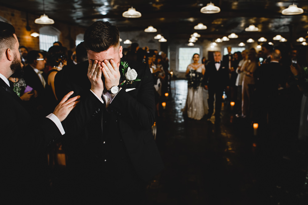 Crying Emotional Groom Aisle Ceremony West Mill Wedding HBA Photography
