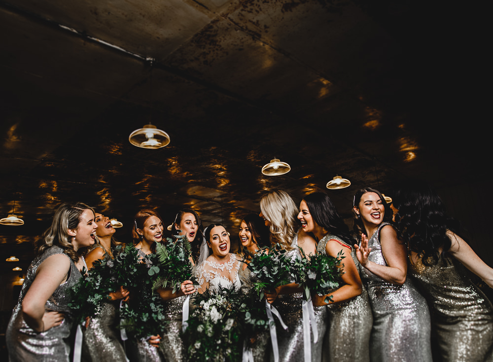 West Mill Wedding HBA Photography Silver Sequin Bridesmaid Dresses Foliage Greenery Bouquets