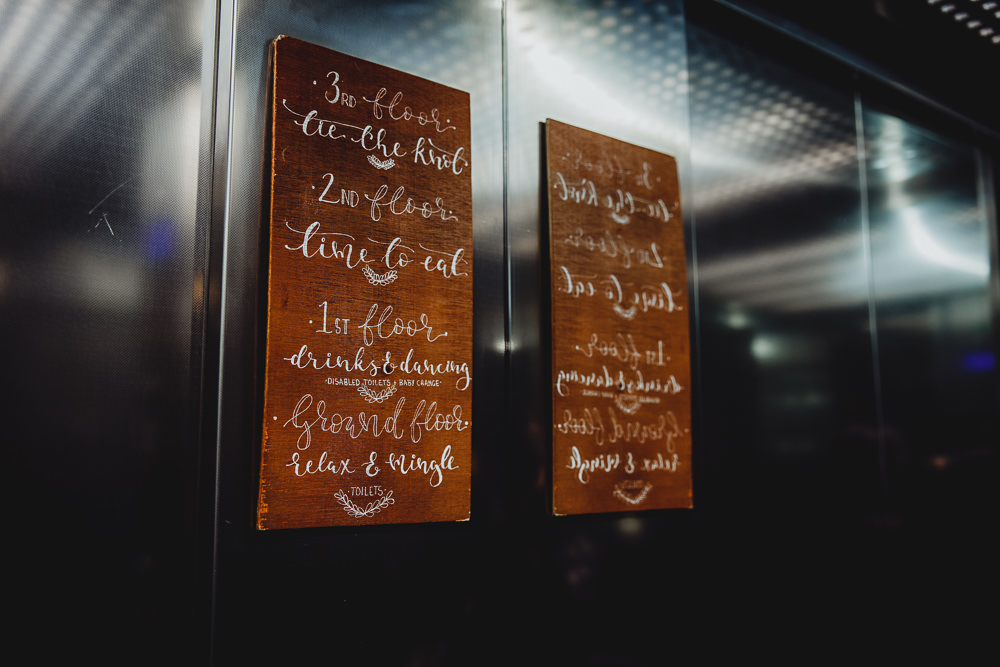 Wooden Sign Posts Calligraphy West Mill Wedding HBA Photography