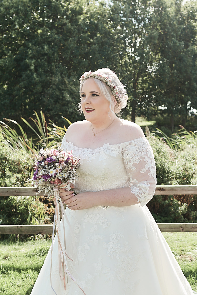 Bride Bridal A Line Sleeved Dress Gown Lace Off the Shoulder Dried Bouquet Wood Farm Barn Wedding Suffolk Faye Amare Photography