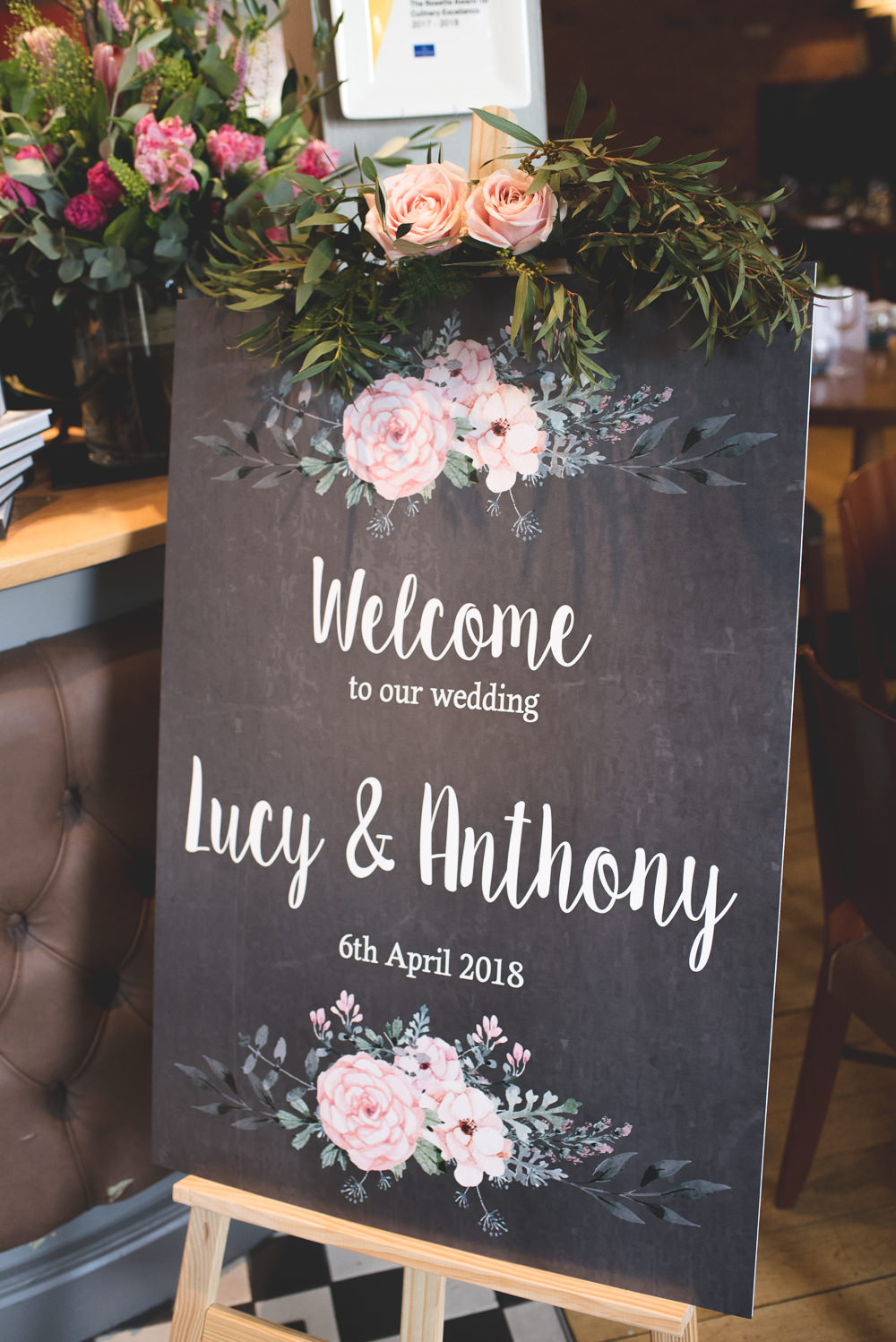 Welcome Sign Modern Calligraphy Pink Rose Easel 60 Hope Street Wedding Lisa Howard Photography