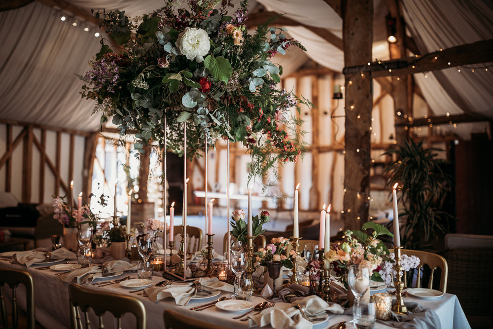 Tall Flower Arrangement Centrepiece Greenery Daliah Foliage Eucalyptus Centrepiece Barn Wedding Ideas Thyme Lane Photography