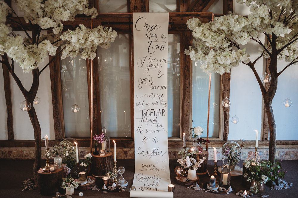 Banner Quote Backdrop Scroll Paper Calligraphy Ceremony Blossom Trees Flowers Decor Barn Wedding Ideas Thyme Lane Photography