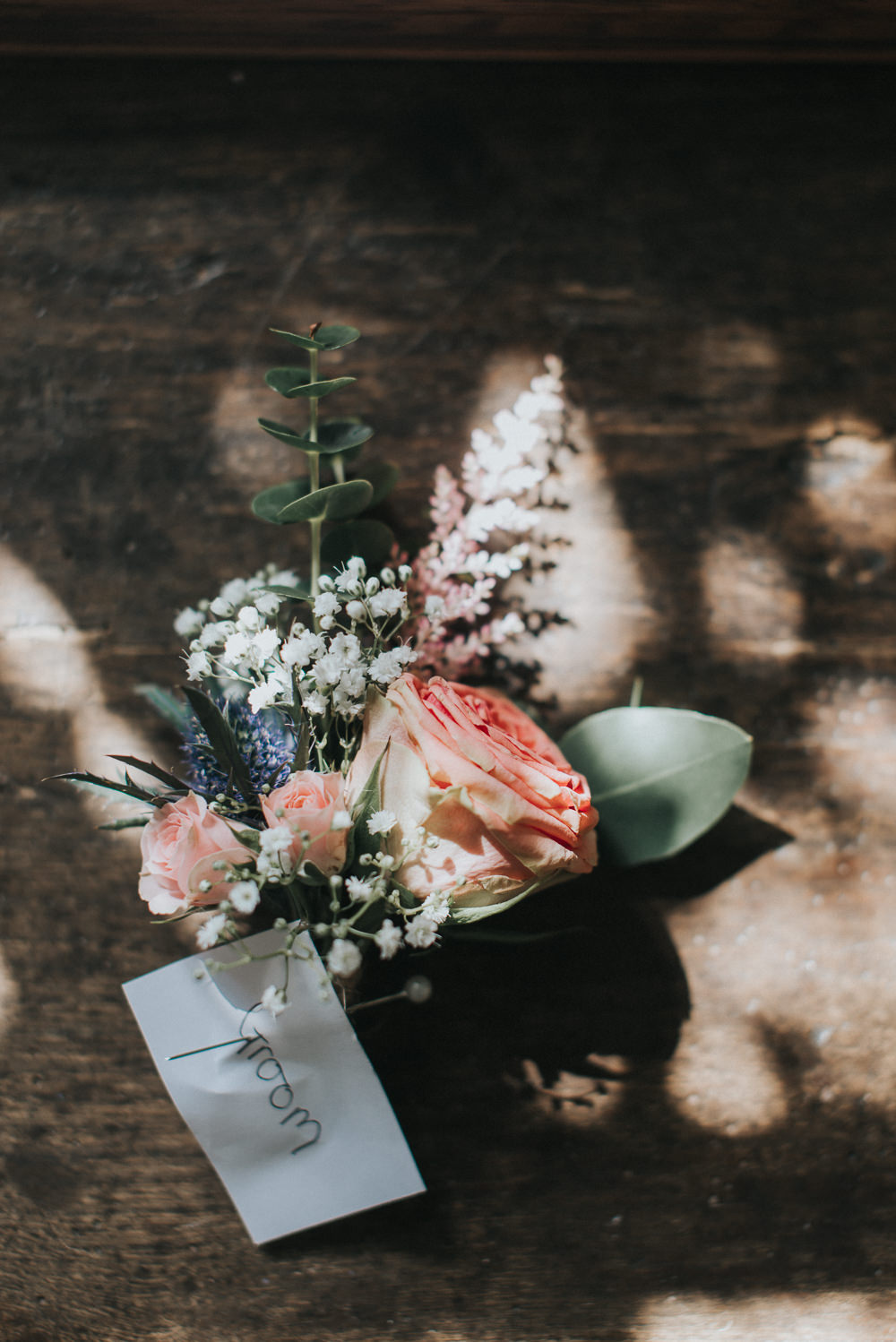 Buttonhole GRoom Rose Greenery Thistle Gypsophila Countryside Wedding Cotswolds Kate Waters Photography