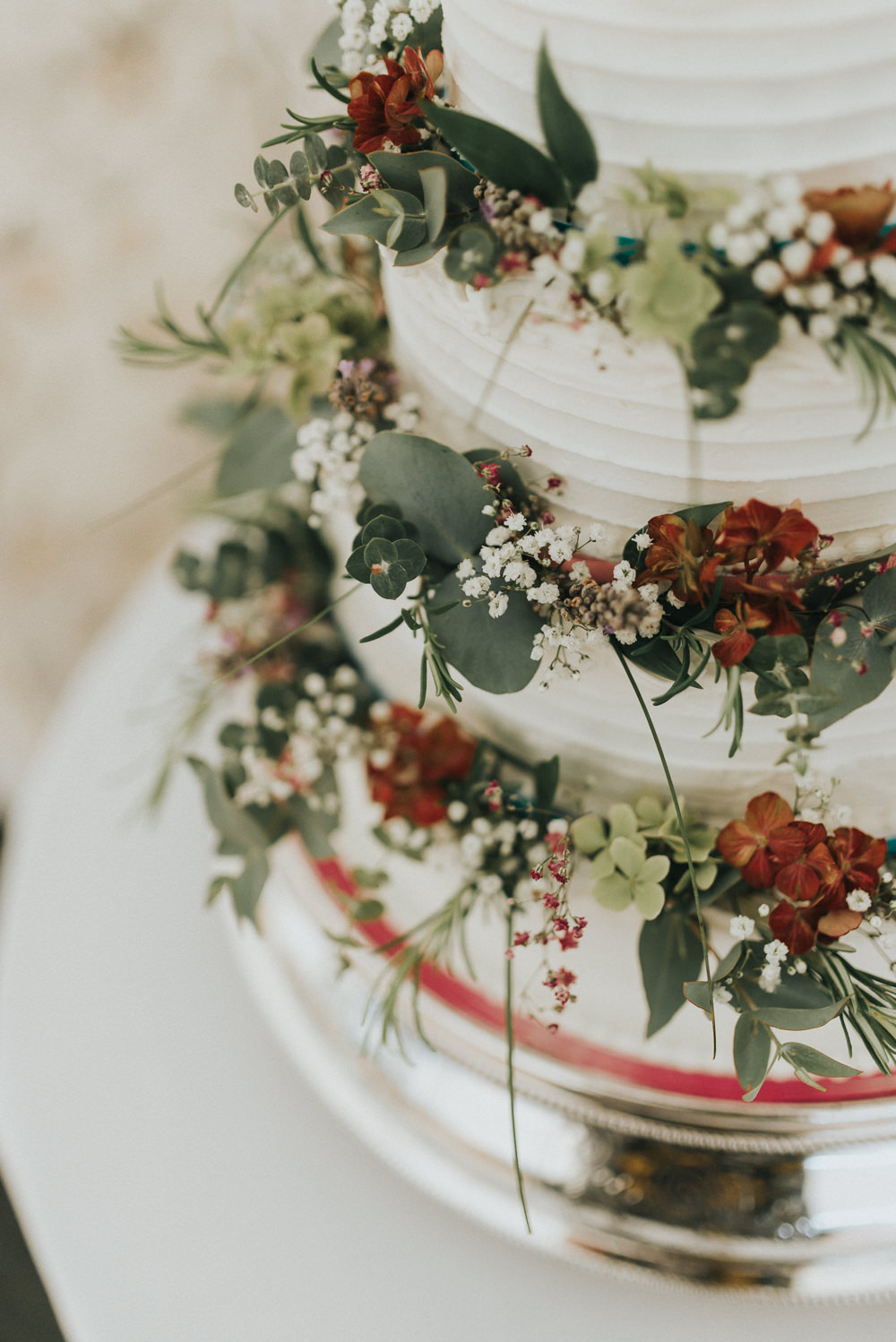 Buttercream Cake Flowers Hydrangeas Red Greenery Countryside Wedding Cotswolds Kate Waters Photography