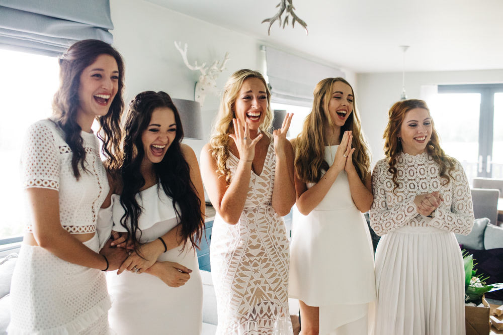 White Mismatched Bridesmaid Dresses Deer Park Country House Hotel Wedding Richard Skins Photography