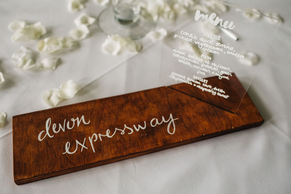 Rustic Wooden Sign Calligraphy Perspex Acrylic Menu Sign Deer Park Country House Hotel Wedding Richard Skins Photography