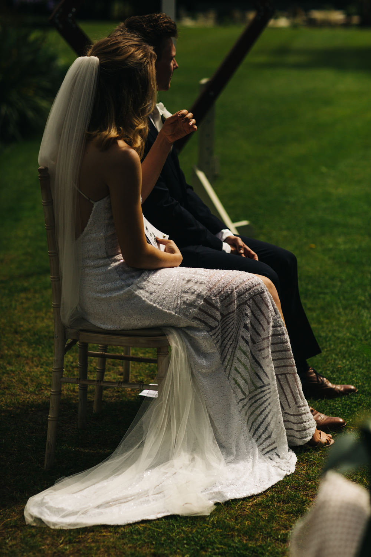 Sequin Dress Bride Bridal Gown Spaghetti Straps Spilt Skirt Veil Deer Park Country House Hotel Wedding Richard Skins Photography