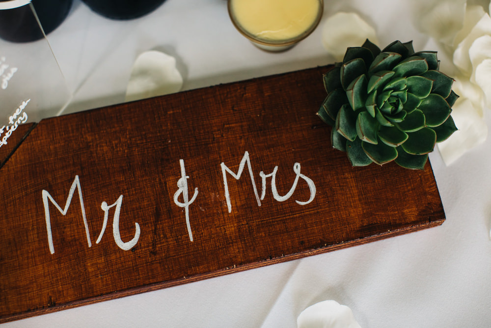 Mr Mrs Wooden Rustic Sign Succulent Deer Park Country House Hotel Wedding Richard Skins Photography