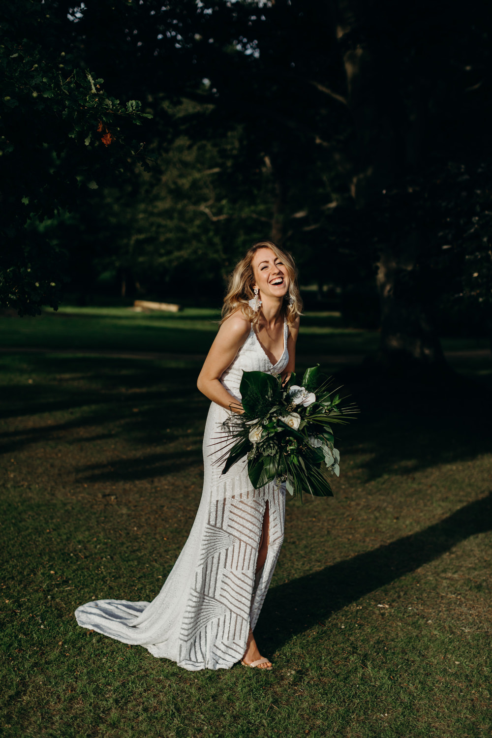 Sequin Dress Bride Bridal Gown Spaghetti Straps Spilt Skirt Tropical Bouquet Flowers Palm Leaves Deer Park Country House Hotel Wedding Richard Skins Photography