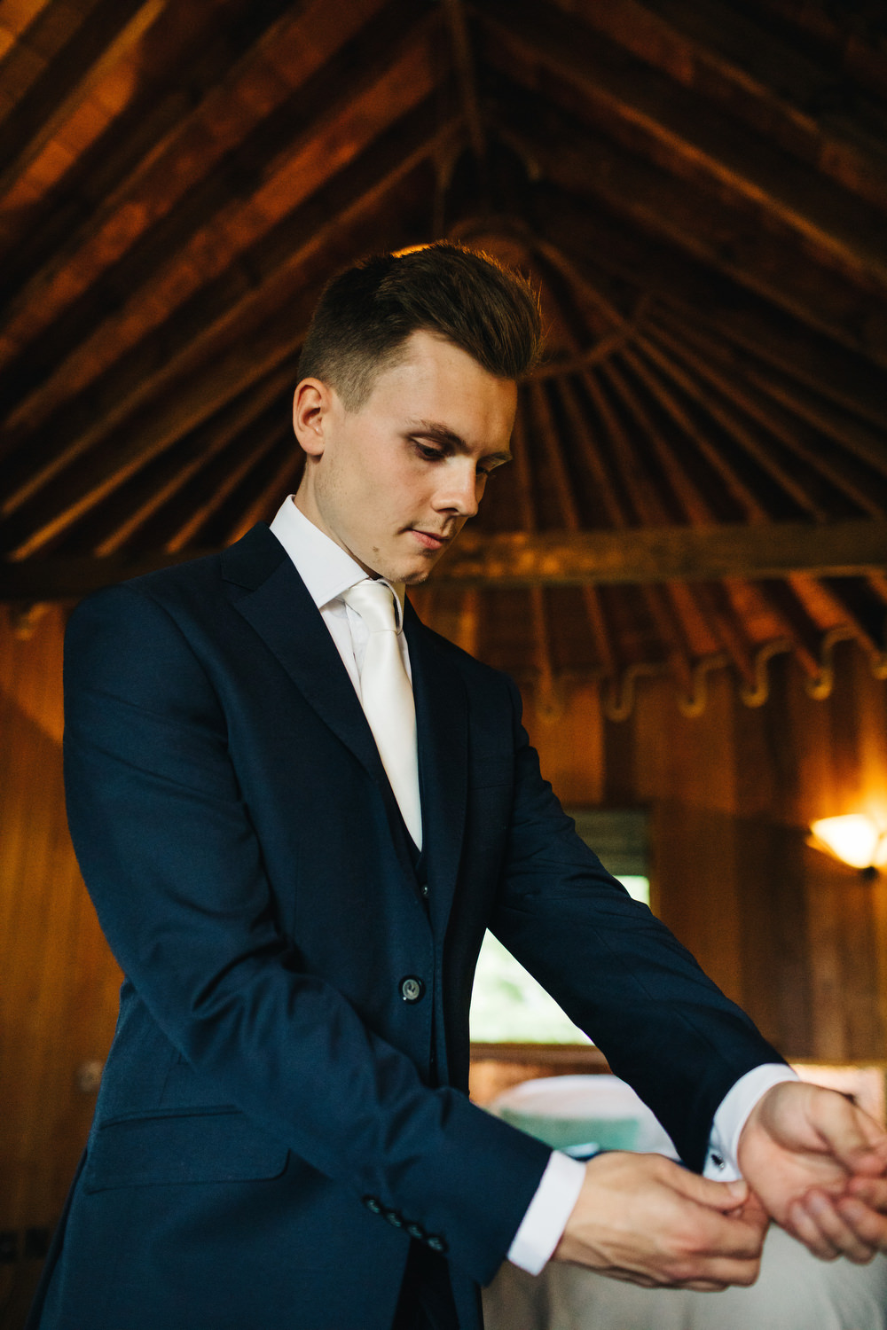Groom Suit Navy White Tie Deer Park Country House Hotel Wedding Richard Skins Photography