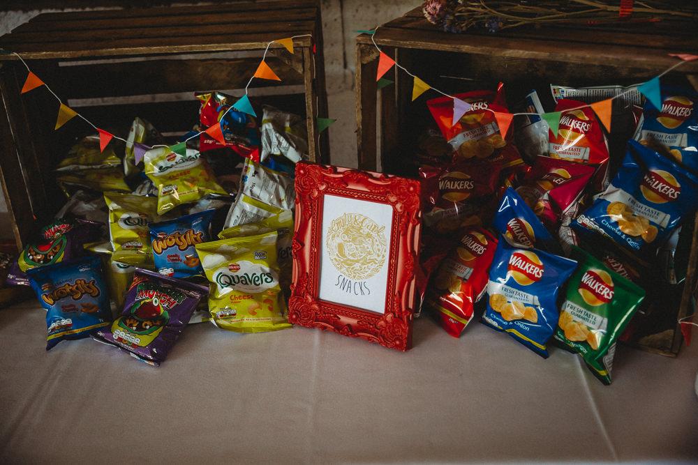 Snack Table Crisps Furtho Manor Farm Wedding Ben Cotterill Photography