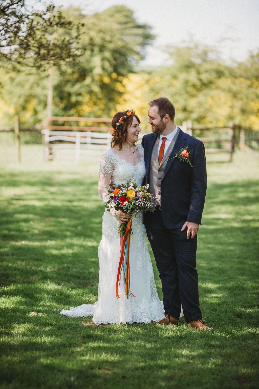 Suit Groom Waistcoat Navy Grey Orange Tie Furtho Manor Farm Wedding Ben Cotterill Photography