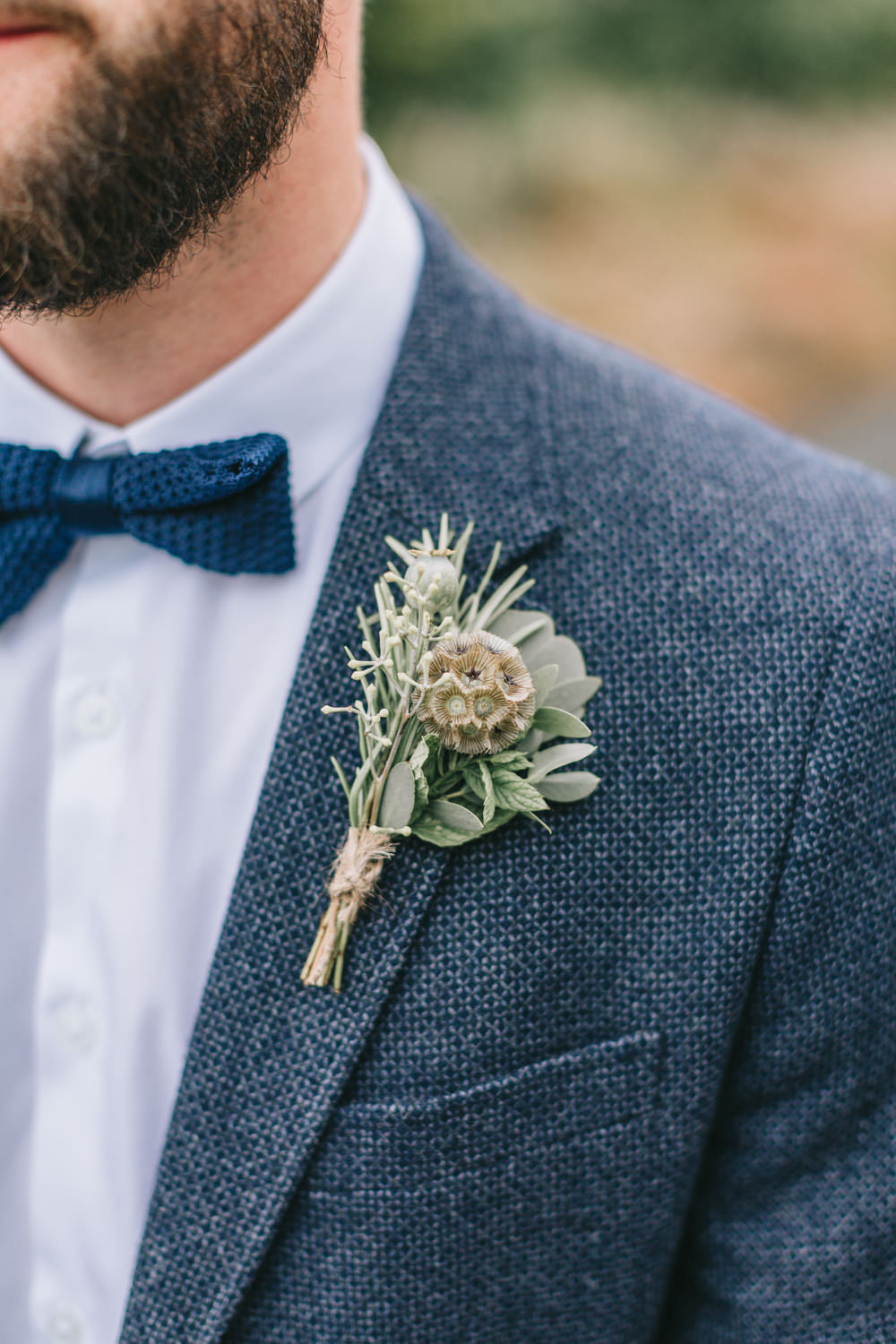 Buttonhole Groom Seed Head Herbs Rosemary Healey Barn Wedding Amy Lou Photography