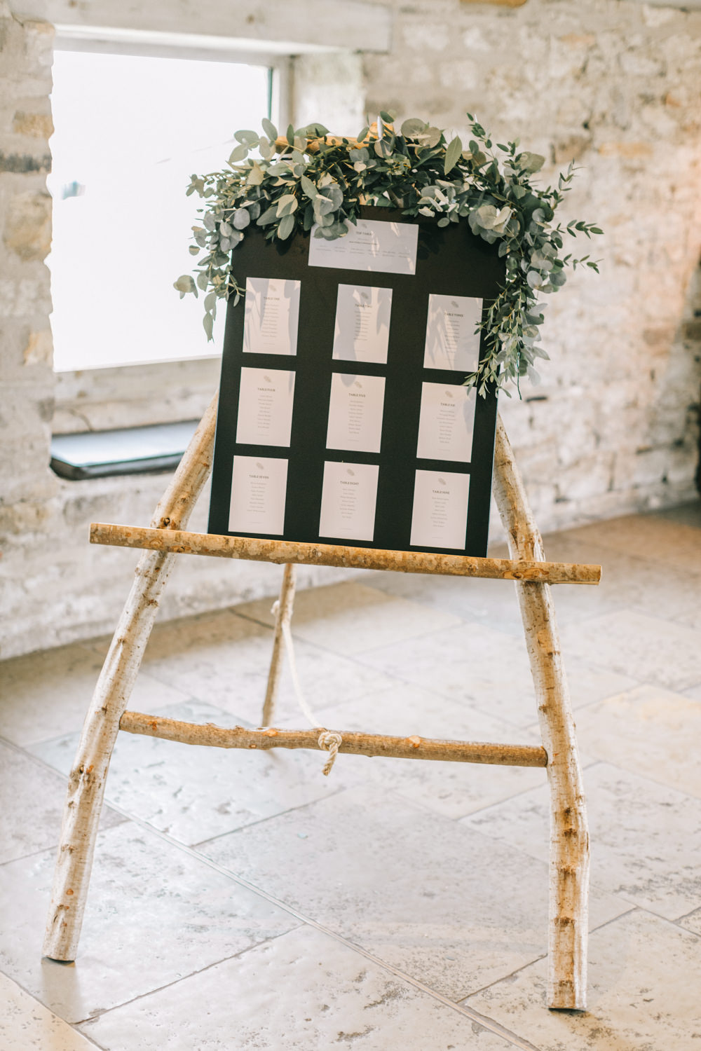 Table Plan Seating Chart Greenery Easel Foliage Flowers Healey Barn Wedding Amy Lou Photography