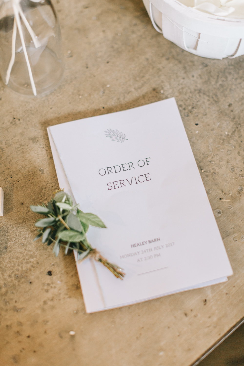 Order Service Booklet Ceremony Twine Buttonhole Stationery Healey Barn Wedding Amy Lou Photography