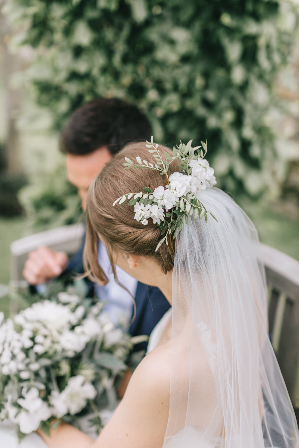 Flowers Bride Bridal White Greenery Foliage Veil Hair Healey Barn Wedding Amy Lou Photography