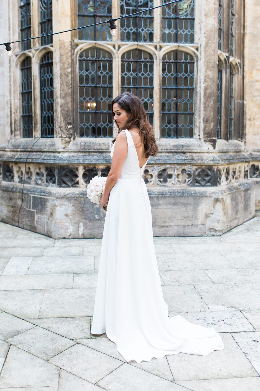Bride Bridal Dress Gown Cowl Neck Train Hengrave Hall Wedding Gemma Giorgio Photography
