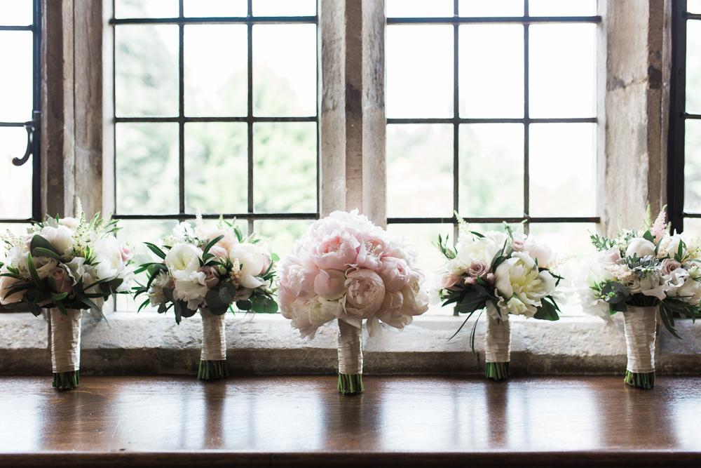 Bride Bridal Pink Blush Peony Tight Posy Bouquet Hengrave Hall Wedding Gemma Giorgio Photography