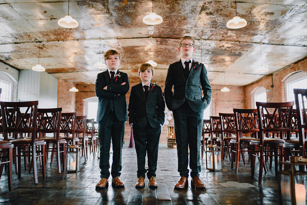 Page Boys Grey Tweed Suits Industrial Winter Wedding Reality Photography