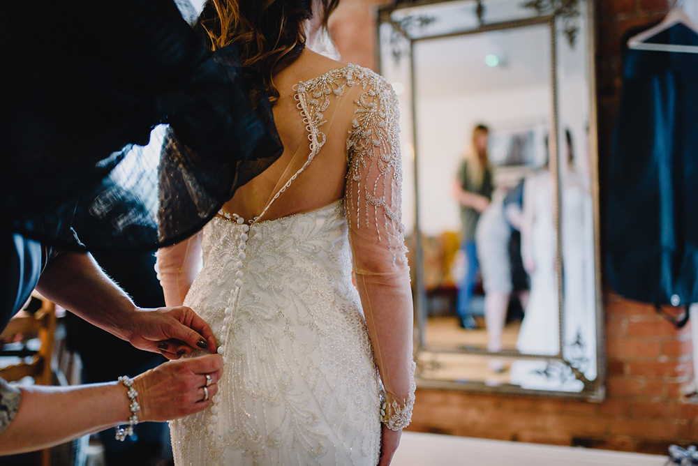 Justin Alexander Dress Bride Bridal Beaded Sleeves Industrial Winter Wedding Reality Photography