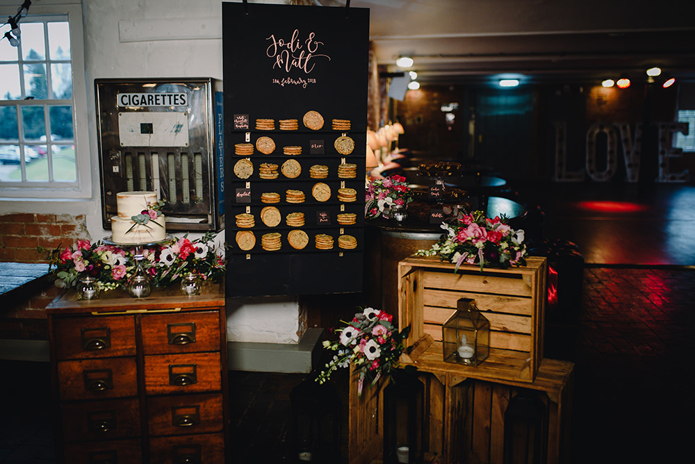 Dessert Table Cakes Cookie Wall Treats Industrial Winter Wedding Reality Photography