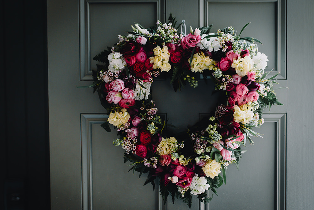 Heart Wreath Flowers Pink Yellow White Garland Hanging Industrial Winter Wedding Reality Photography