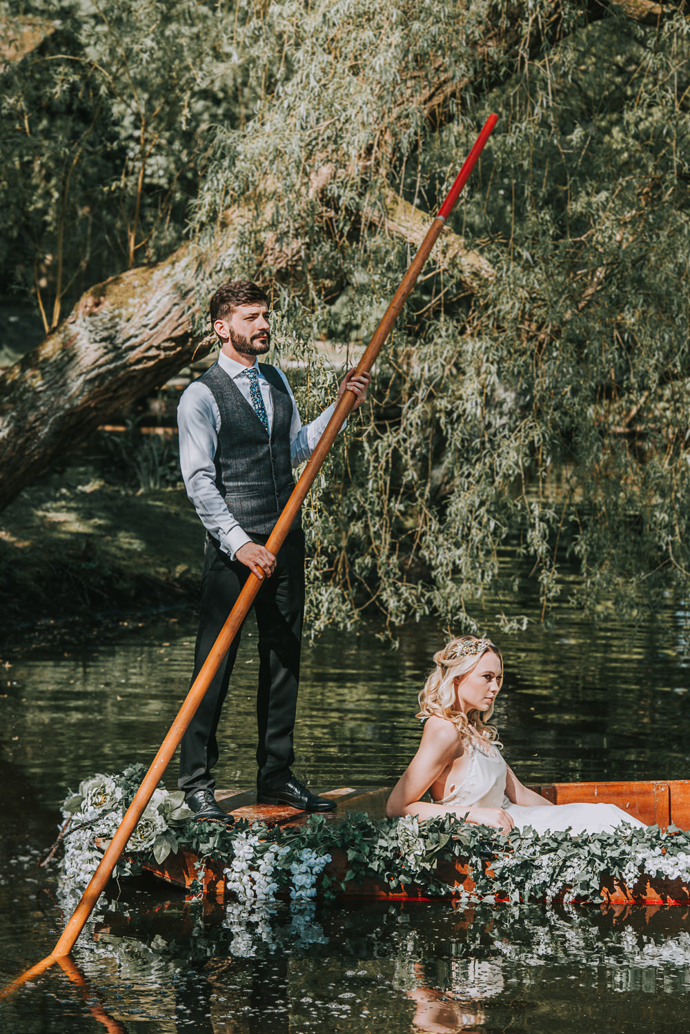 Secret Dresshouse Ethereal Bride Bridal Gown Bow Tie Groom Pocket Square Waistcoat Tweed River Romance Wedding Ideas Mindy Coe Photography