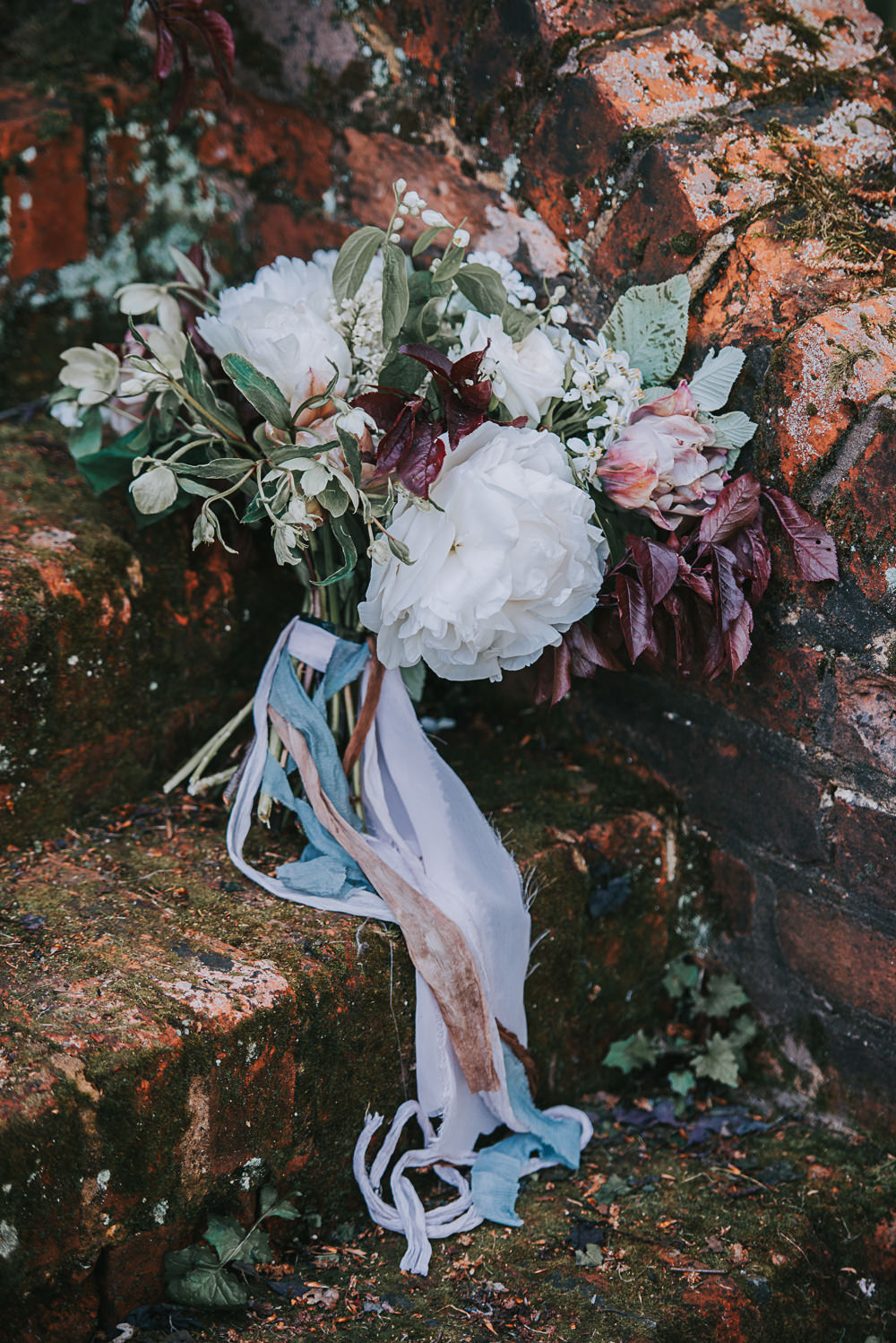 Bride Bridal Bouquet Rose Greenery Leaves Red Gypsophila Floral Flowers River Romance Wedding Ideas Mindy Coe Photography