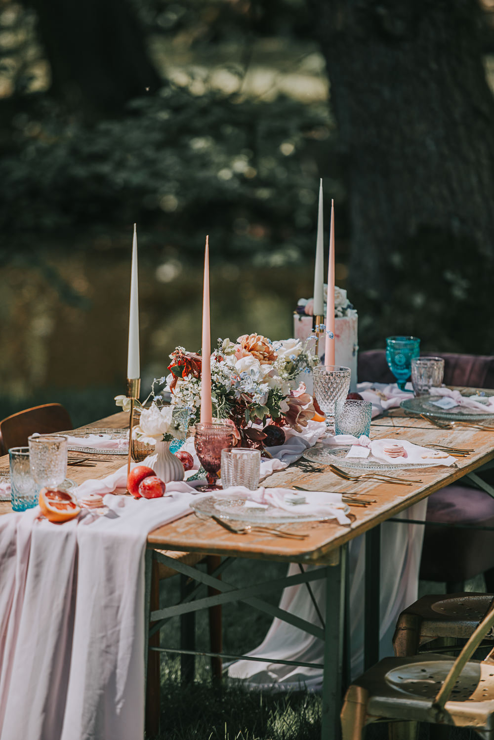 Tablescape Gold Chair Chiffon Table Runner Taper Candles Coloured Cut Glass River Romance Wedding Ideas Mindy Coe Photography