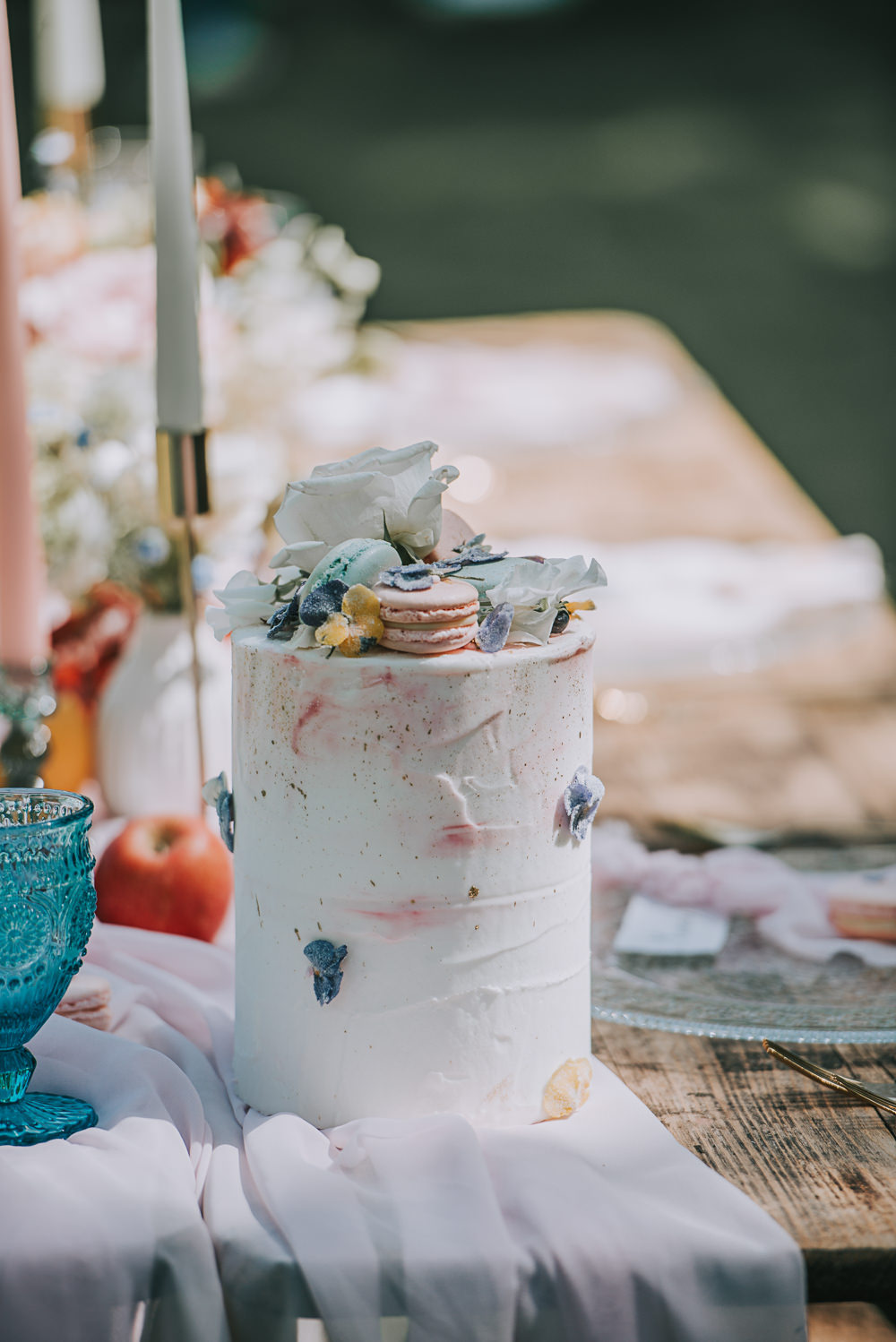 Cake Airbrush Macaron Blush Petal Floral River Romance Wedding Ideas Mindy Coe Photography