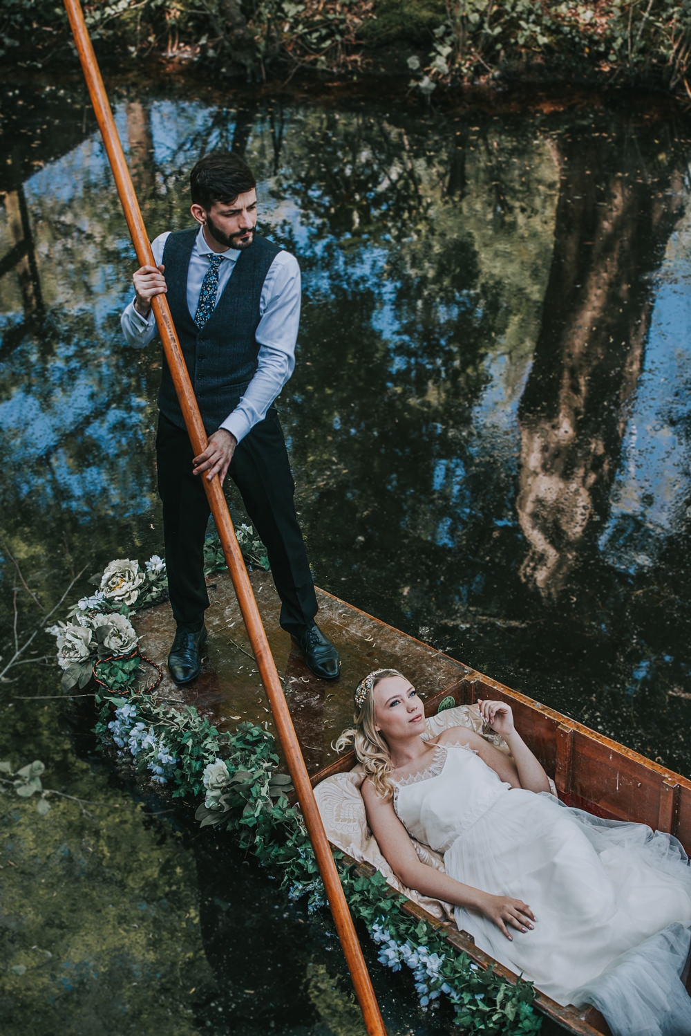 Secret Dresshouse Ethereal Bride Bridal Gown Bow Tie Groom Waistcoat Silk Foliage Flower Florals River Romance Wedding Ideas Mindy Coe Photography