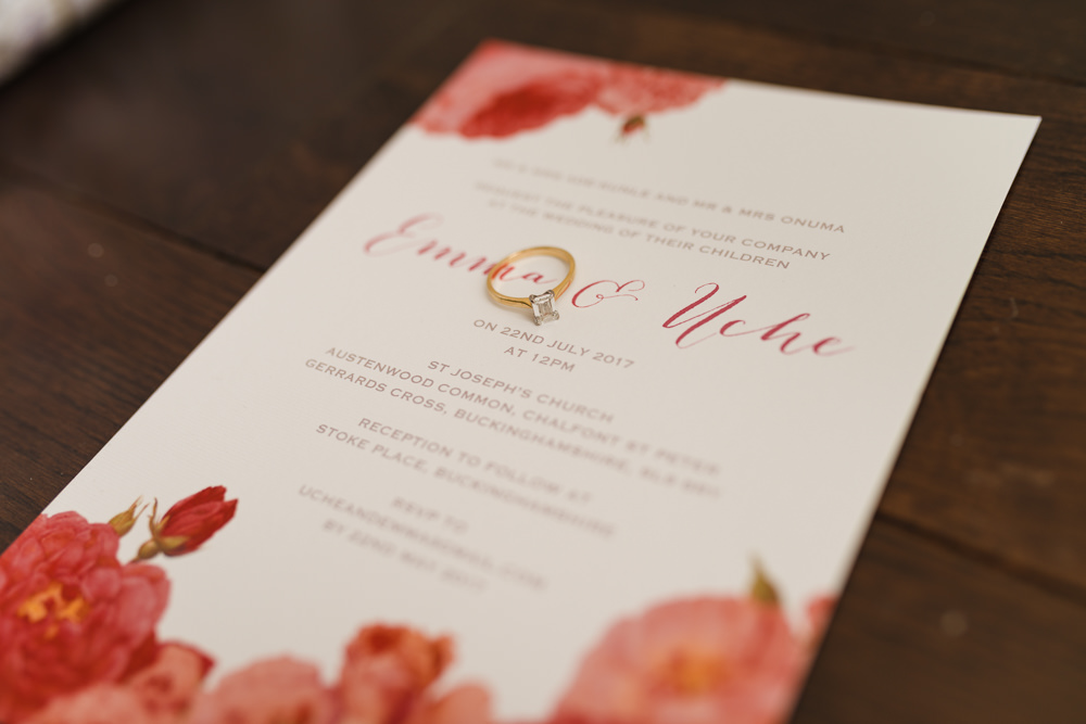 Stationery Invitation Pink Red Rose Stoke Place Wedding Hannah McClune Photography